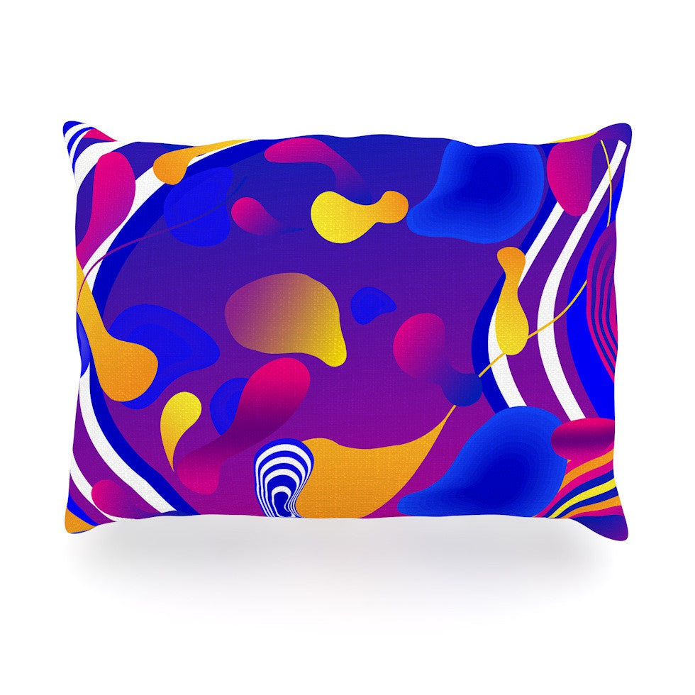 "Danny Ivan ""Bubbles"" Blue Purple Oblong Pillow - KESS InHouse"