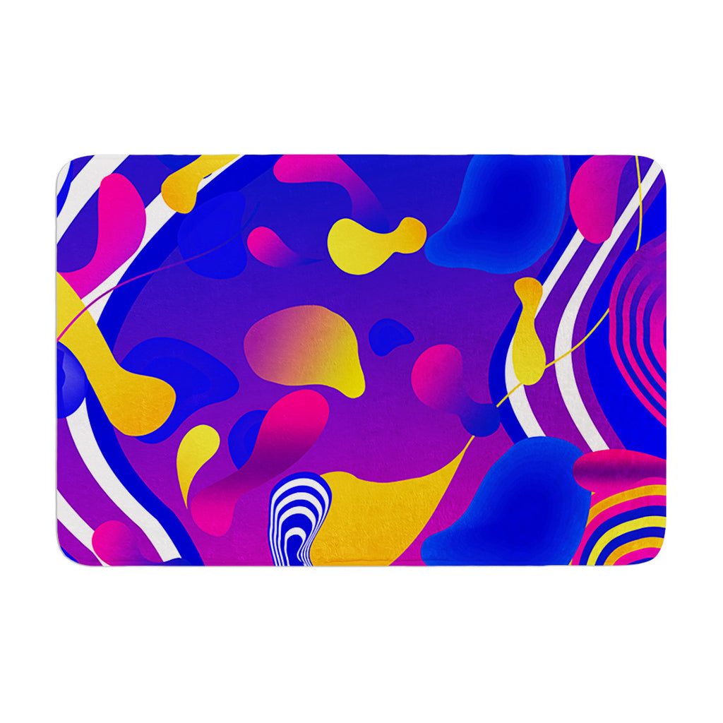 "Danny Ivan ""Bubbles"" Blue Purple Memory Foam Bath Mat - KESS InHouse"