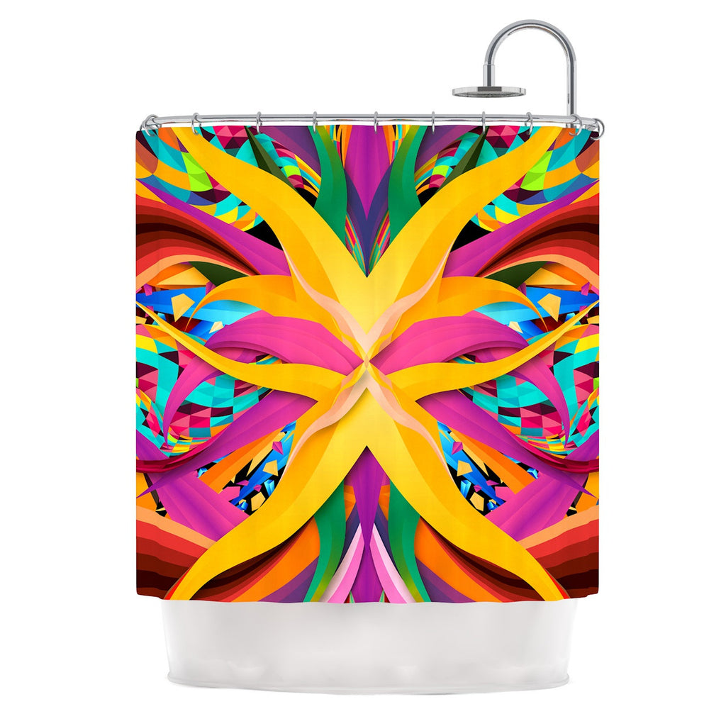 "Danny Ivan ""Tropical Fun"" Yellow Pink Shower Curtain - KESS InHouse"
