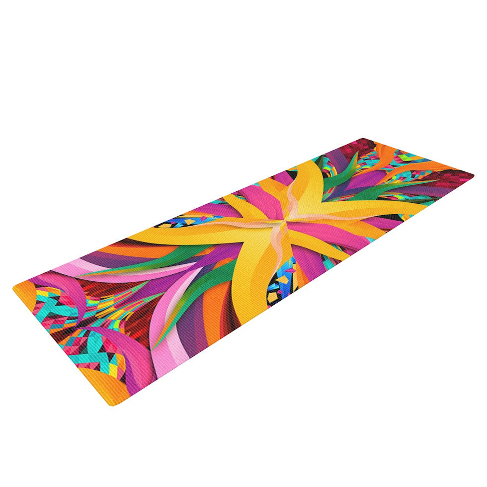 "Danny Ivan ""Tropical Fun"" Yellow Pink Yoga Mat - KESS InHouse  - 1"