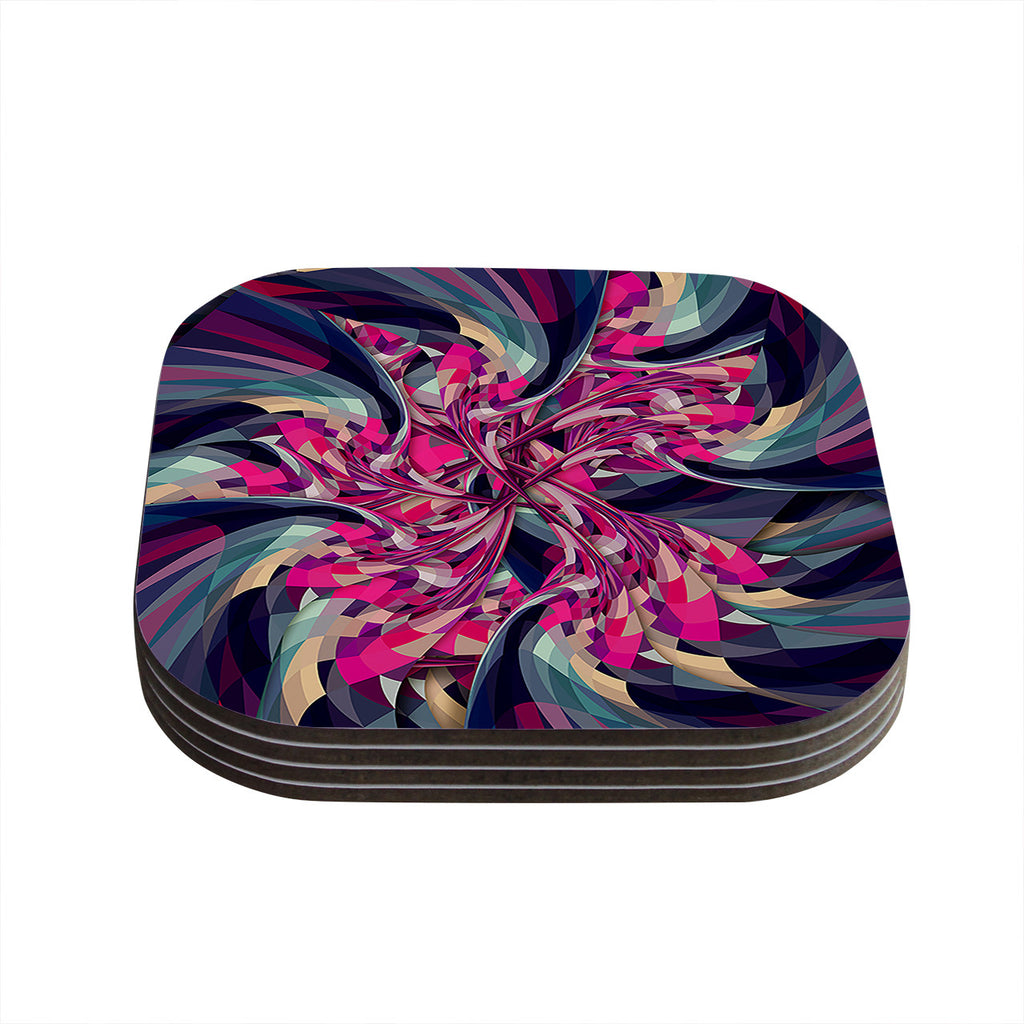 "Danny Ivan ""Purple Spiral"" Pink Geometric Coasters (Set of 4)"