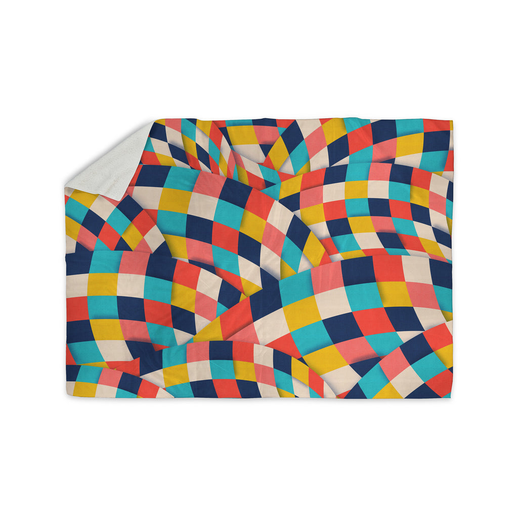 "Danny Ivan ""Curved Squares"" Multicolor  Sherpa Blanket - KESS InHouse  - 1"