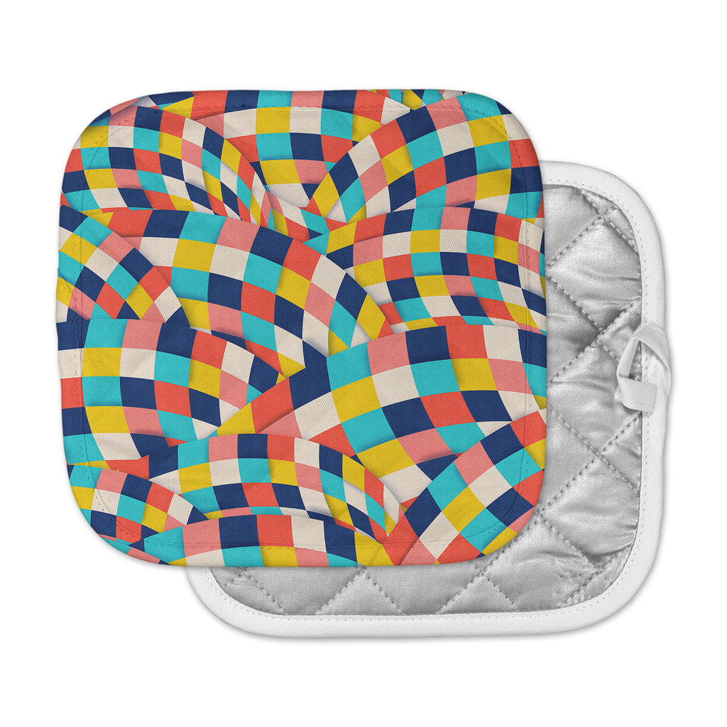 "Danny Ivan ""Curved Squares"" Multicolor  Pot Holder"