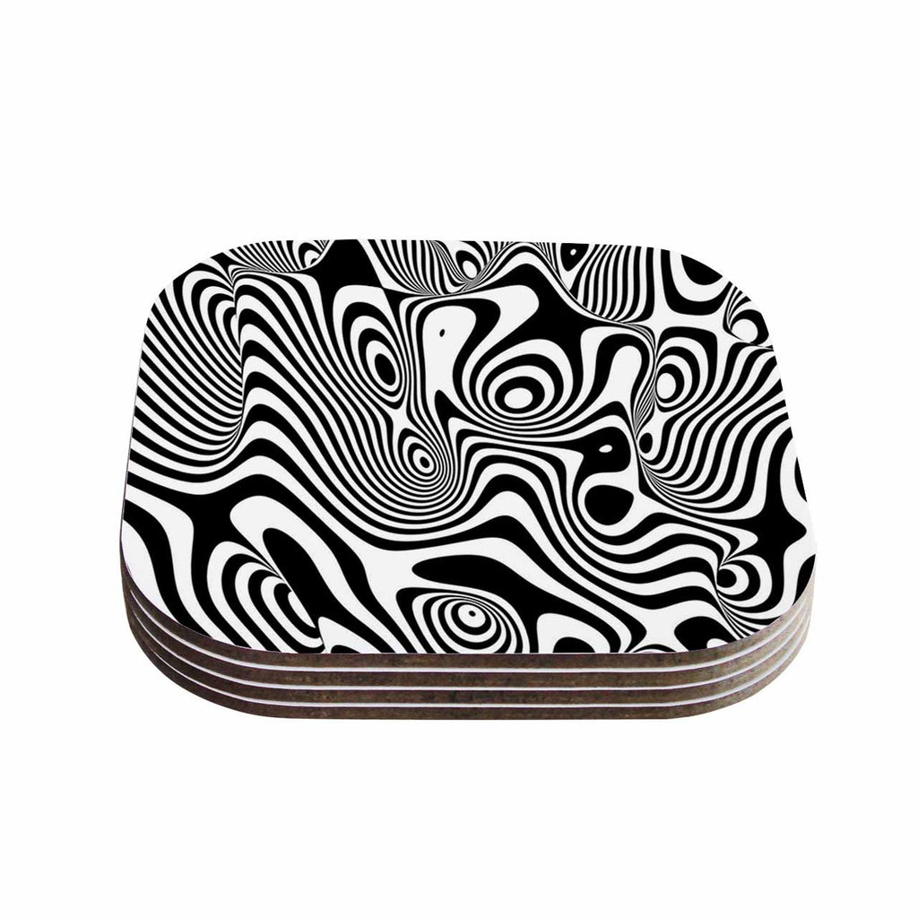 "Danny Ivan ""Trippy"" Black White Coasters (Set of 4)"