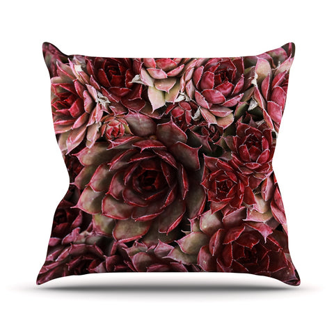 "Debbra Obertanec ""Red Succulents"" Maroon Throw Pillow - Outlet Item - KESS InHouse"