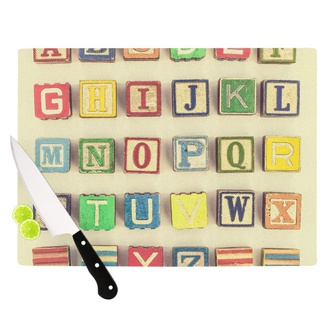 "Debbra Obertanec ""Vintage ABC's"" Wooden Letters Cutting Board - Outlet Item - KESS InHouse"