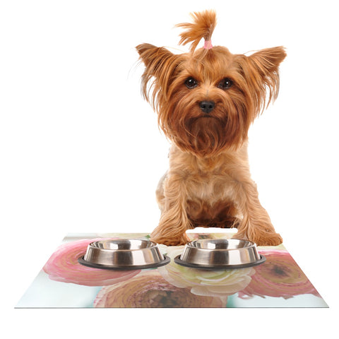 "Debbra Obertanec ""Pastel Ranunculus"" Pink White Dog Place Mat - Outlet Item"