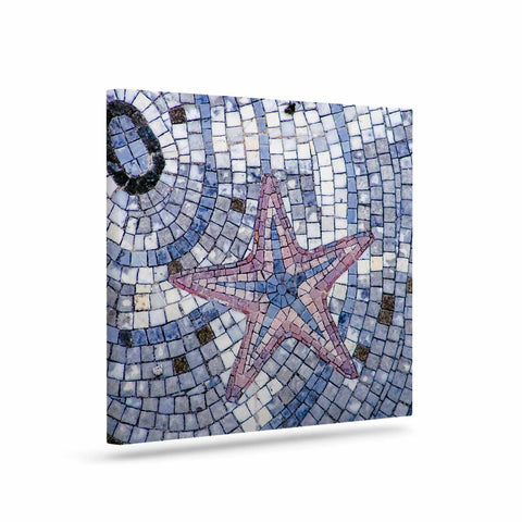 "Debbra Obertanec ""Mosaic Starfish"" Nautical Blue Canvas Art - Outlet Item"