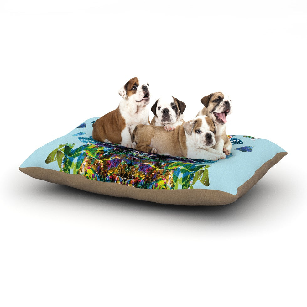 "Danii Pollehn ""Butterfly"" Blue Rainbow Dog Bed - KESS InHouse  - 1"