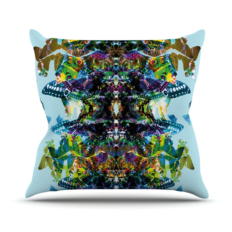 "Danii Pollehn ""Butterfly"" Blue Rainbow Outdoor Throw Pillow - KESS InHouse  - 1"