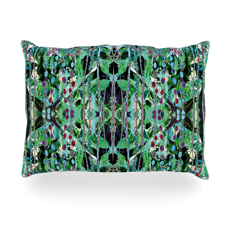 "Danii Pollehn ""Grun"" Green Abstract Oblong Pillow - KESS InHouse"