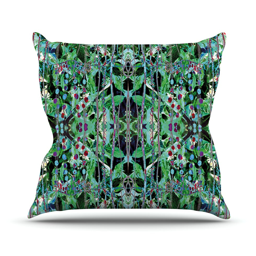 "Danii Pollehn ""Grun"" Green Abstract Throw Pillow - KESS InHouse  - 1"