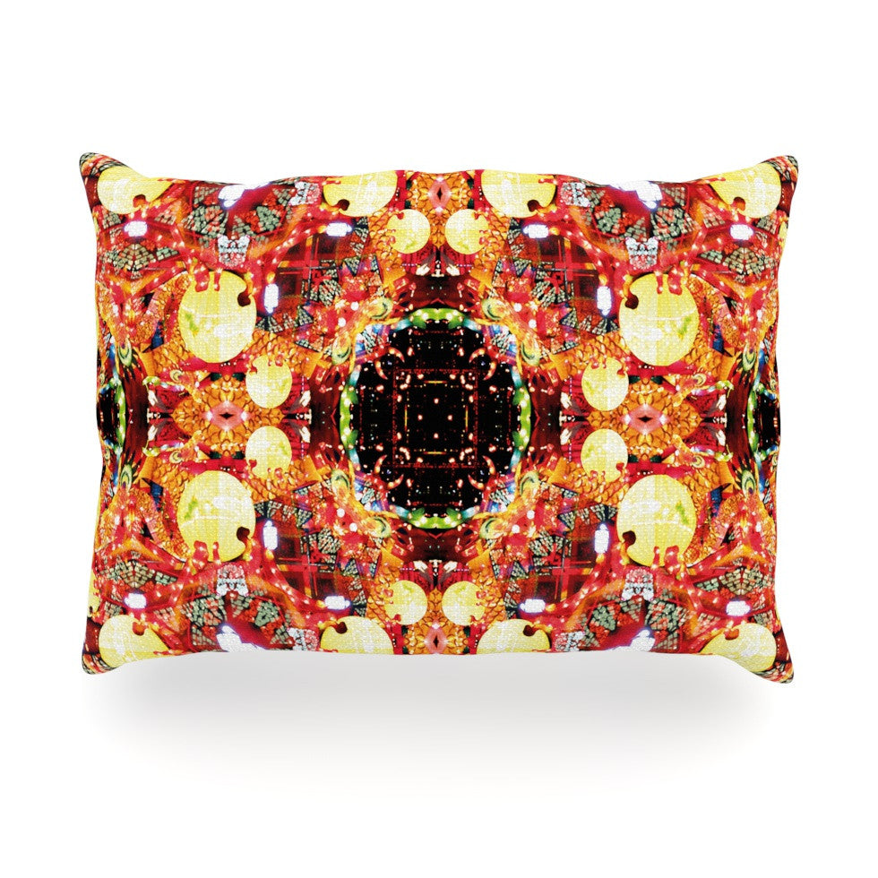"Danii Pollehn ""China"" Gold Red Oblong Pillow - KESS InHouse"