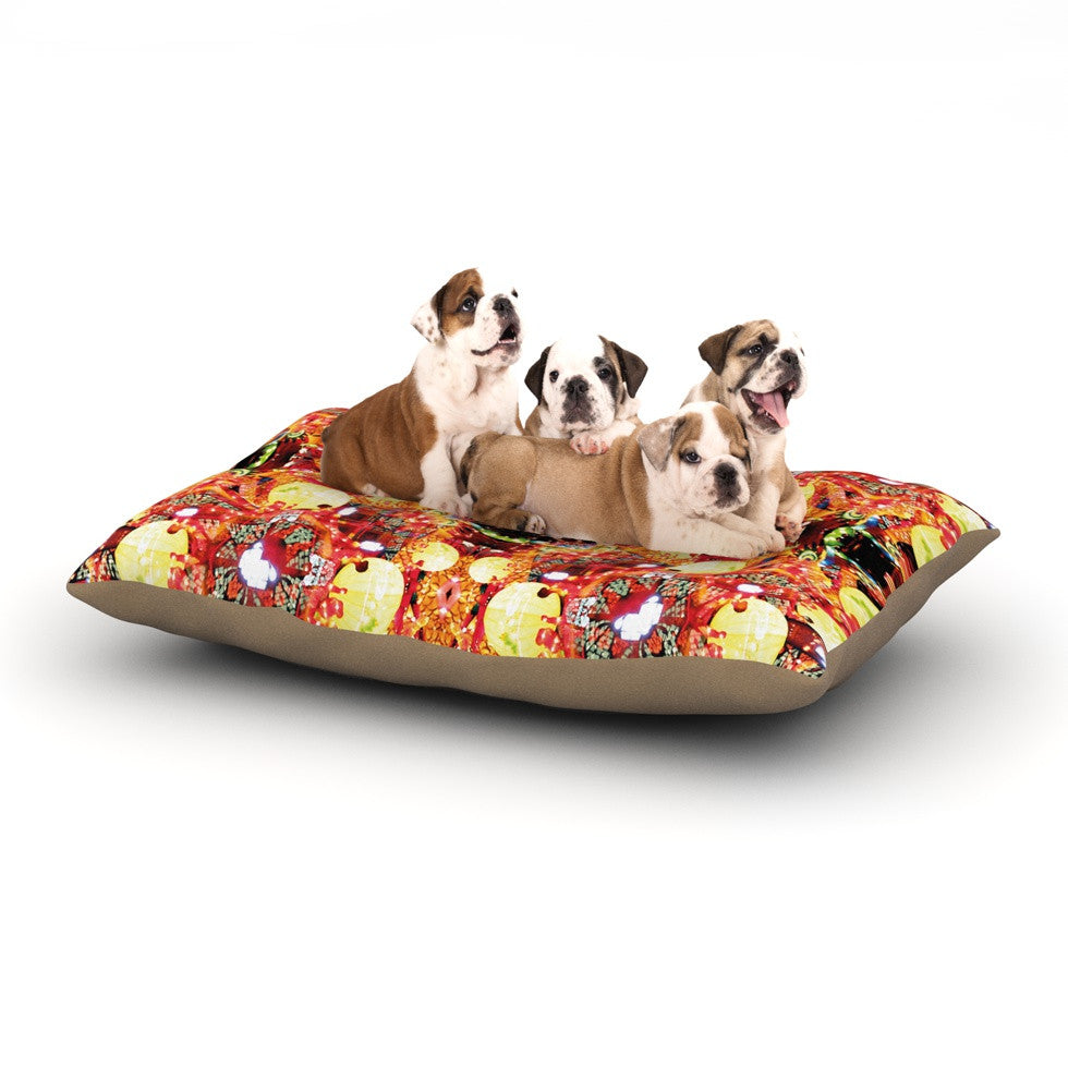 "Danii Pollehn ""China"" Gold Red Dog Bed - KESS InHouse  - 1"
