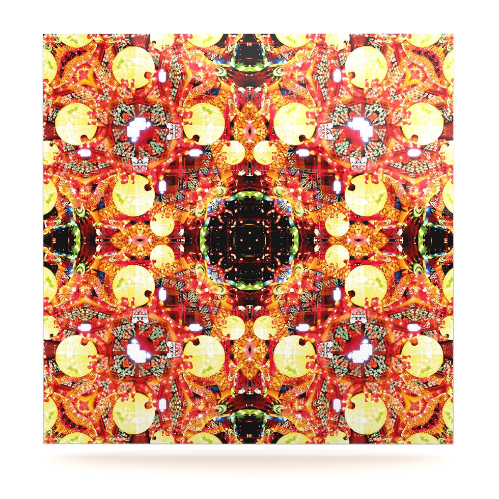 "Danii Pollehn ""China"" Gold Red Luxe Square Panel - KESS InHouse  - 1"