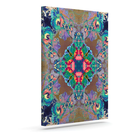 "Danii Pollehn ""Flowery"" Floral Kaleidoscope Outdoor Canvas Wall Art - Outlet Item"