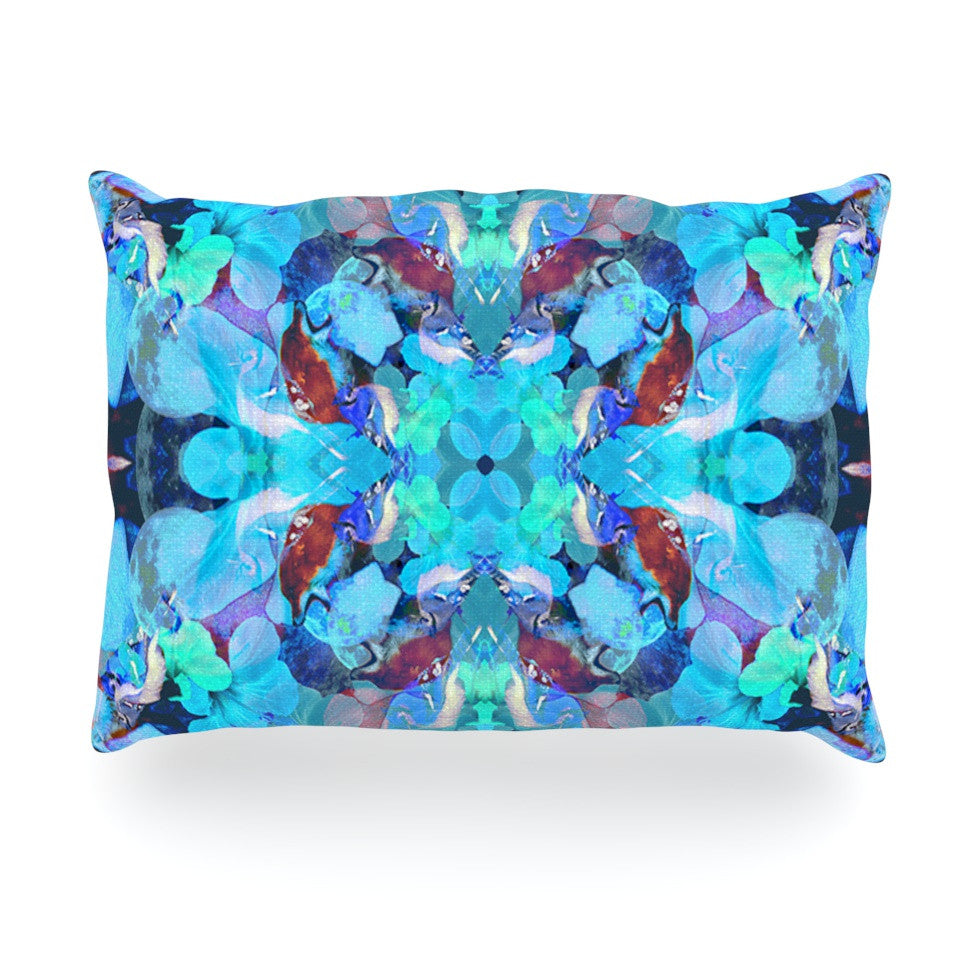 "Danii Pollehn ""The Moon and A Fox"" Aqua Blue Oblong Pillow - KESS InHouse"