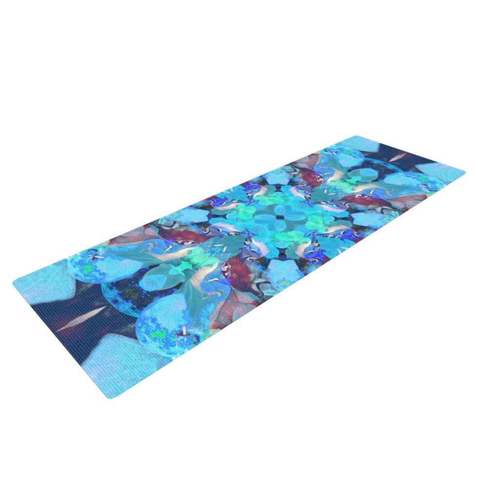 "Danii Pollehn ""The Moon and A Fox"" Aqua Blue Yoga Mat - KESS InHouse  - 1"