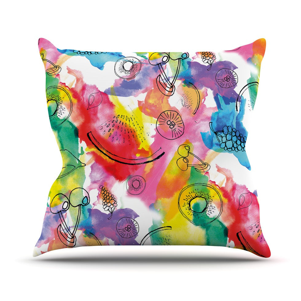 "Danii Pollehn ""Fruits"" Rainbow Outdoor Throw Pillow - KESS InHouse  - 1"
