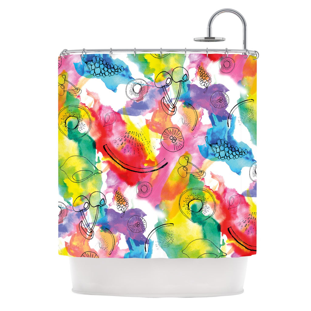 "Danii Pollehn ""Fruits"" Rainbow Shower Curtain - KESS InHouse"