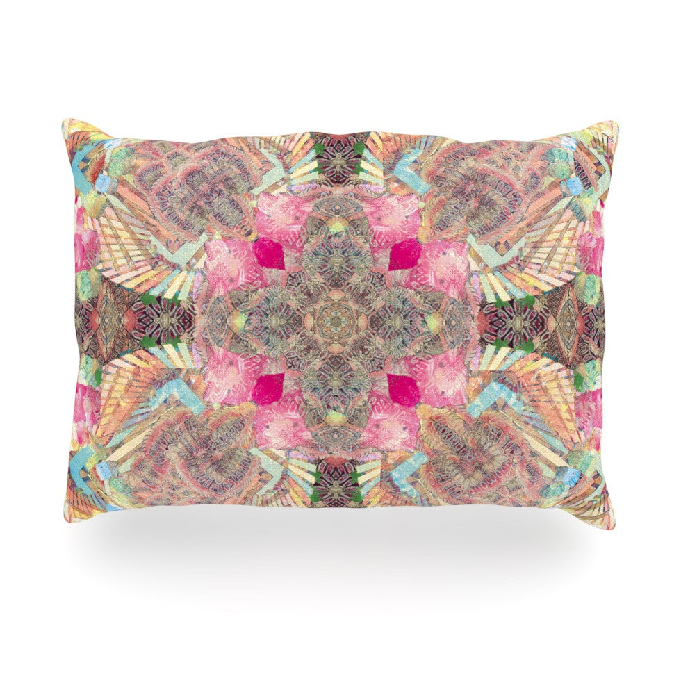 "Danii Pollehn ""Indian Clash"" Pink Multicolor Oblong Pillow - KESS InHouse"