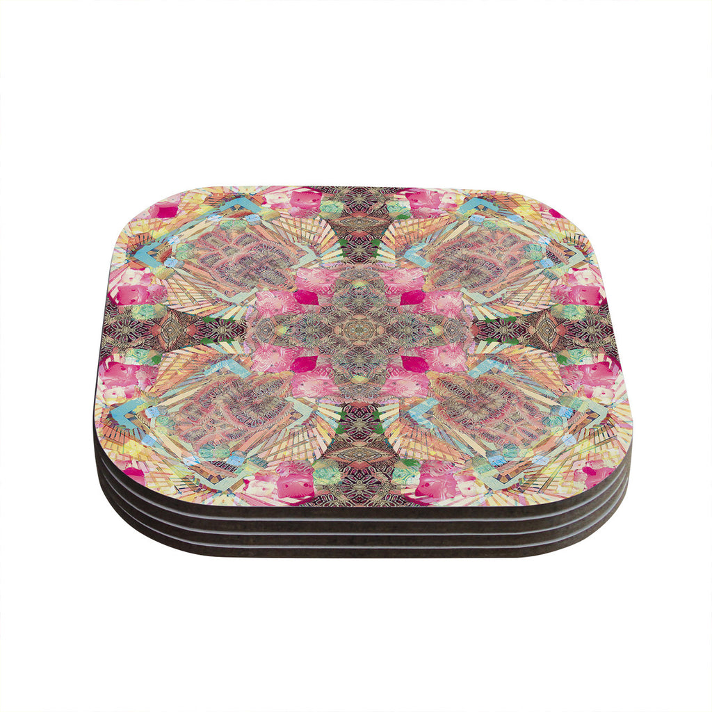 "Danii Pollehn ""Indian Clash"" Pink Multicolor Coasters (Set of 4)"