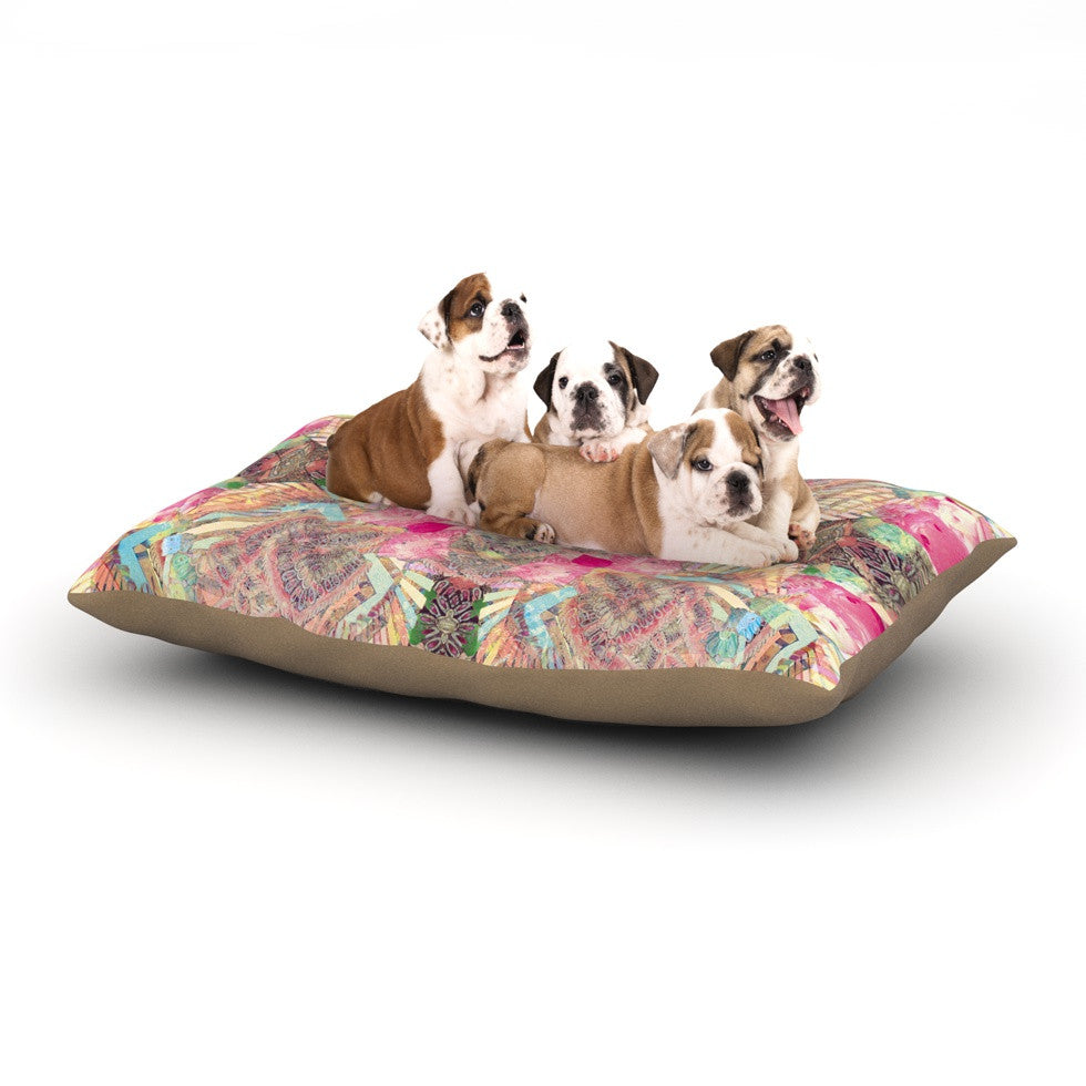 "Danii Pollehn ""Indian Clash"" Pink Multicolor Dog Bed - KESS InHouse  - 1"