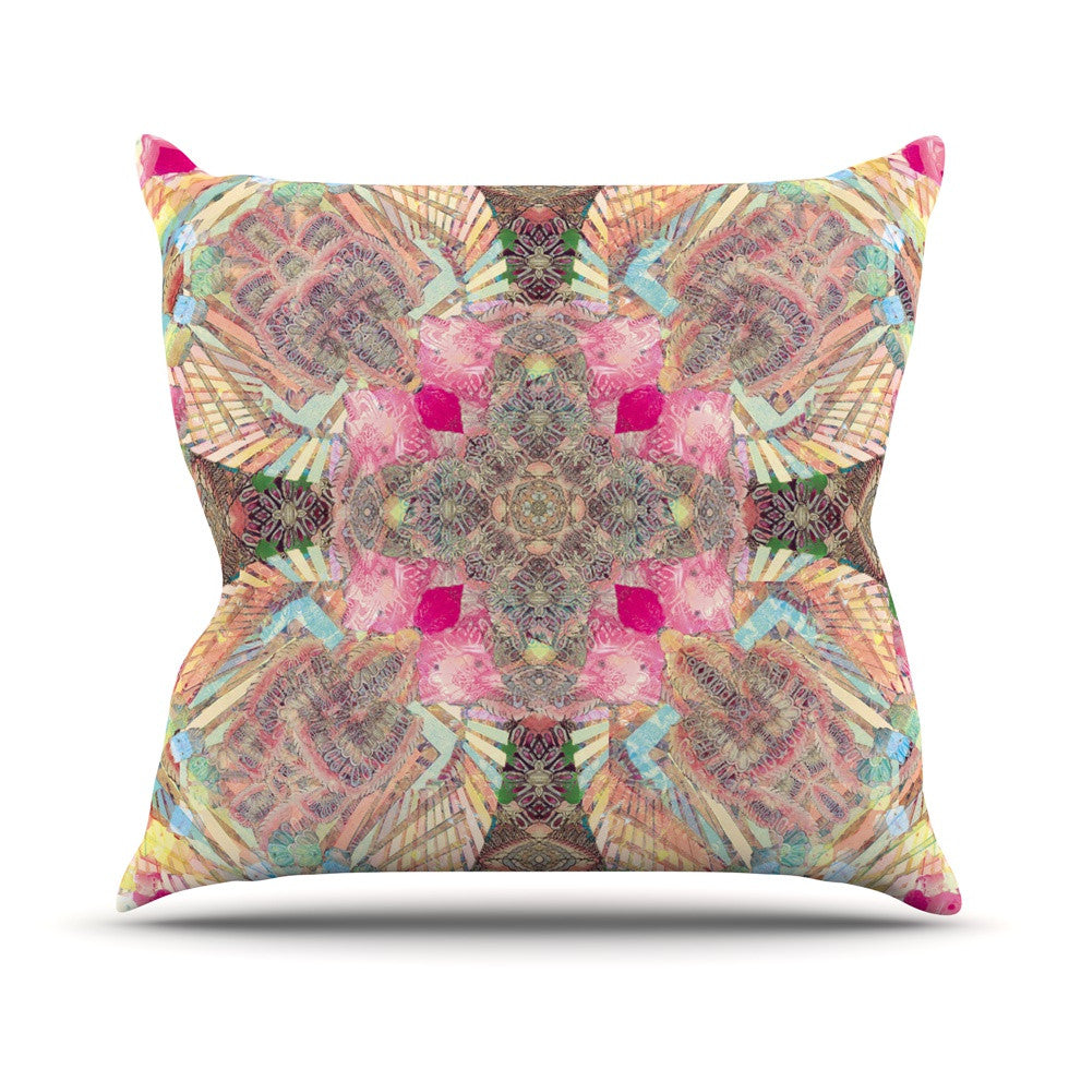 "Danii Pollehn ""Indian Clash"" Pink Multicolor Outdoor Throw Pillow - KESS InHouse  - 1"