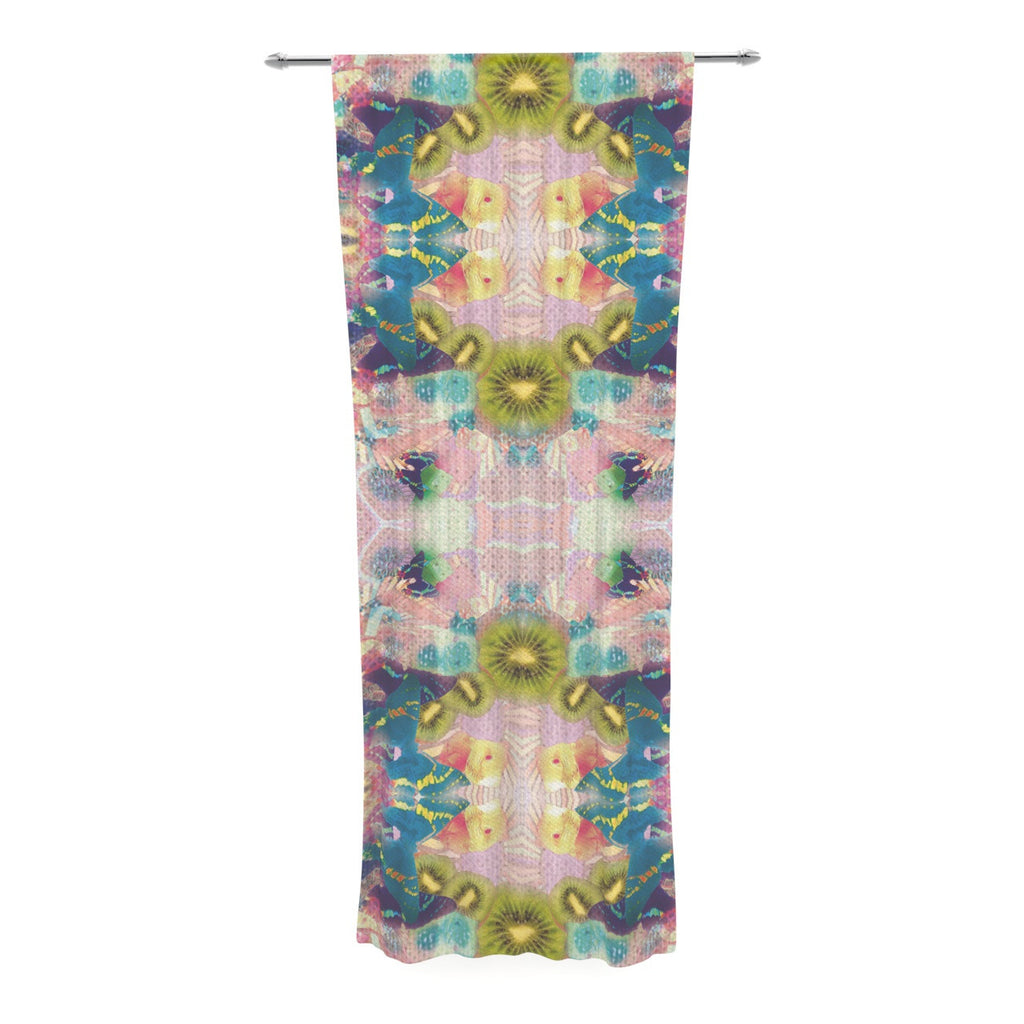 "Danii Pollehn ""LSD"" Pink Green Decorative Sheer Curtain - KESS InHouse  - 1"