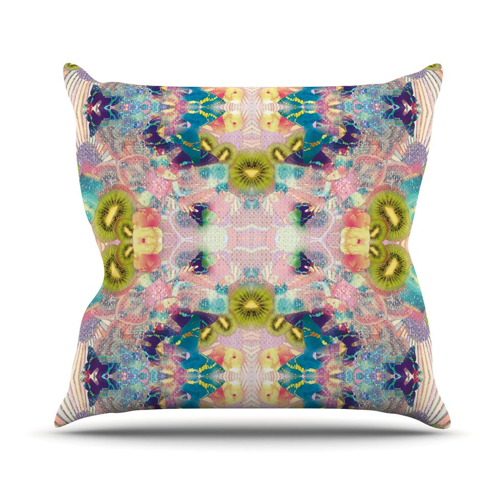 "Danii Pollehn ""LSD"" Pink Green Outdoor Throw Pillow - KESS InHouse  - 1"