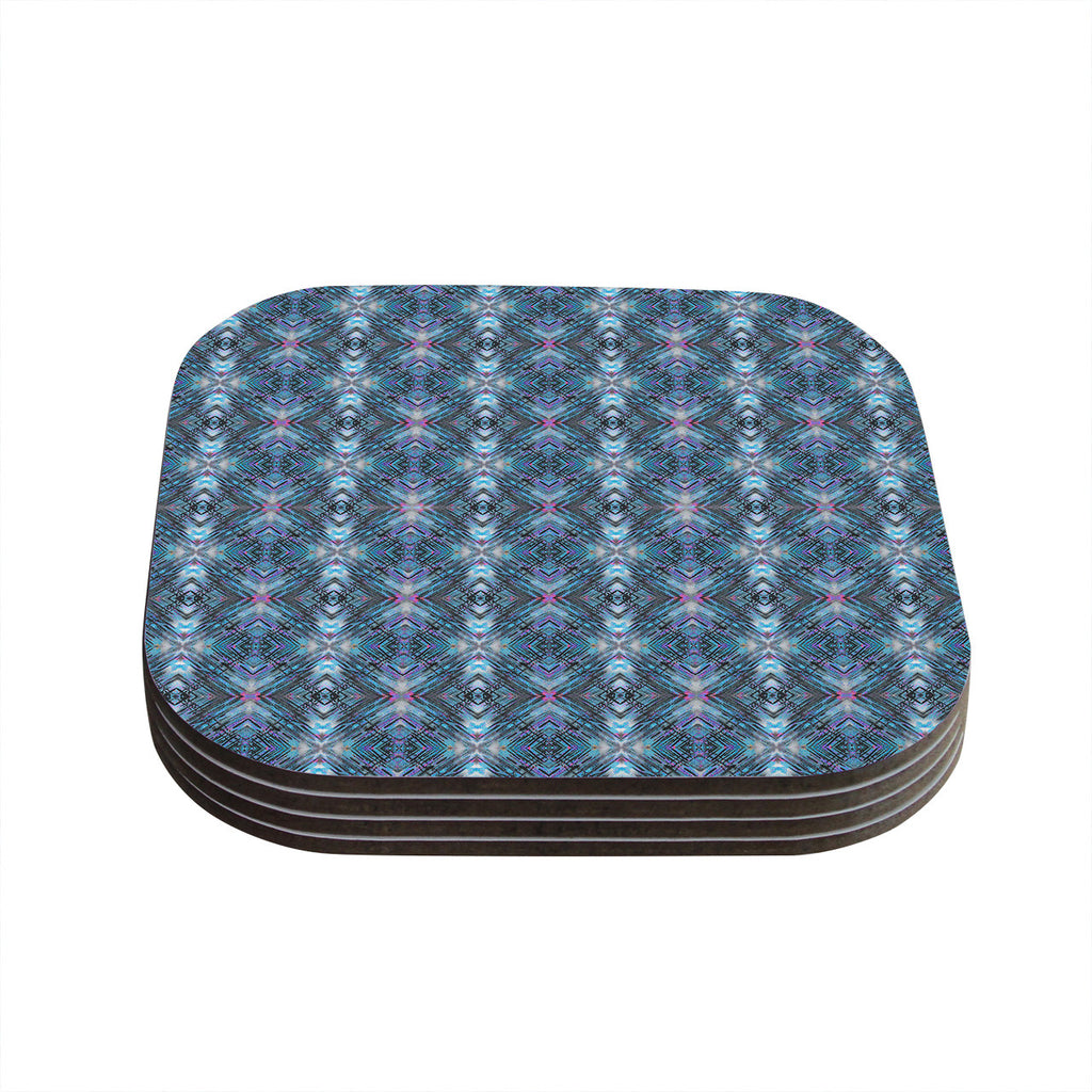 "Danii Pollehn ""Native Pattern"" Blue Geometric Coasters (Set of 4)"