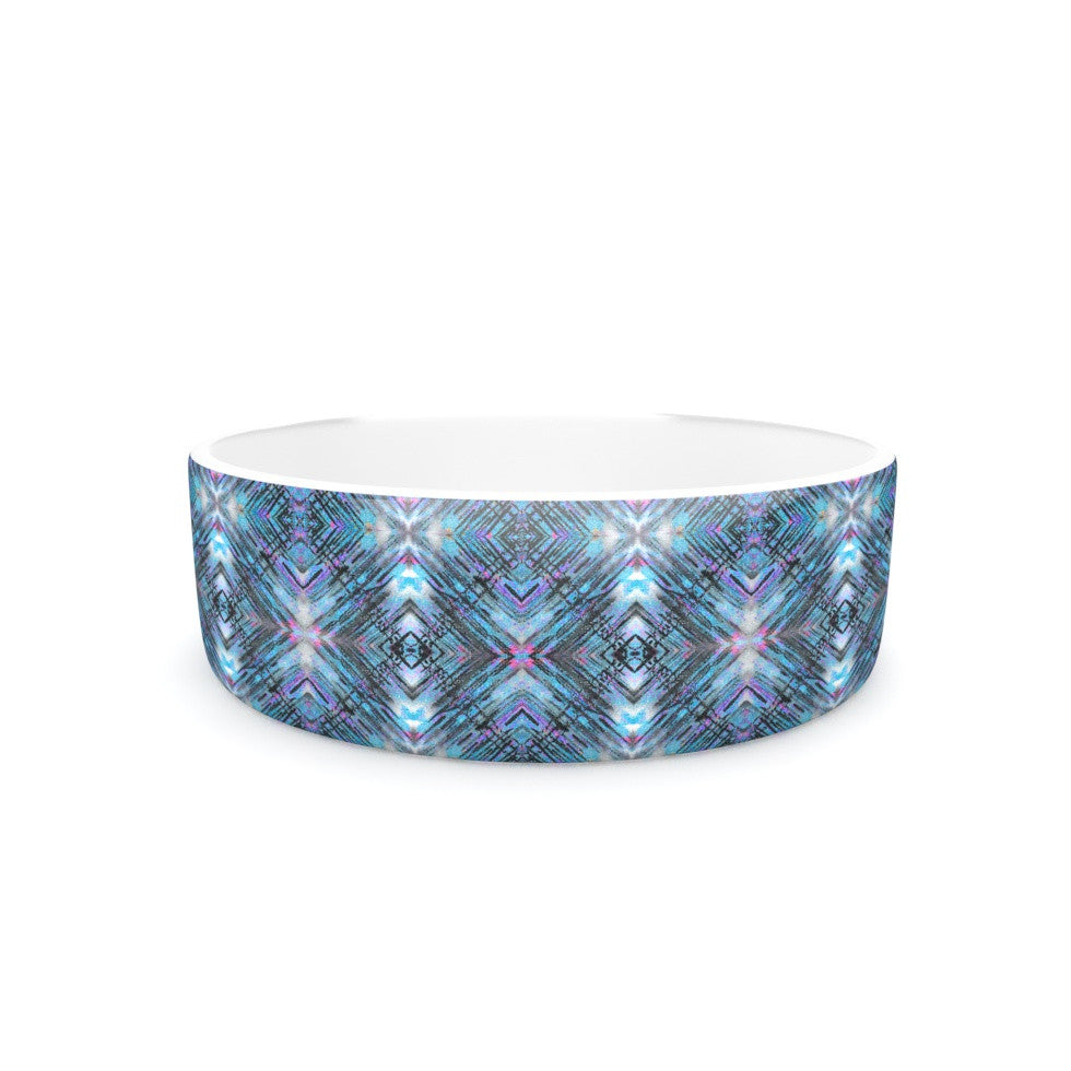 "Danii Pollehn ""Native Pattern"" Blue Geometric Pet Bowl - KESS InHouse"