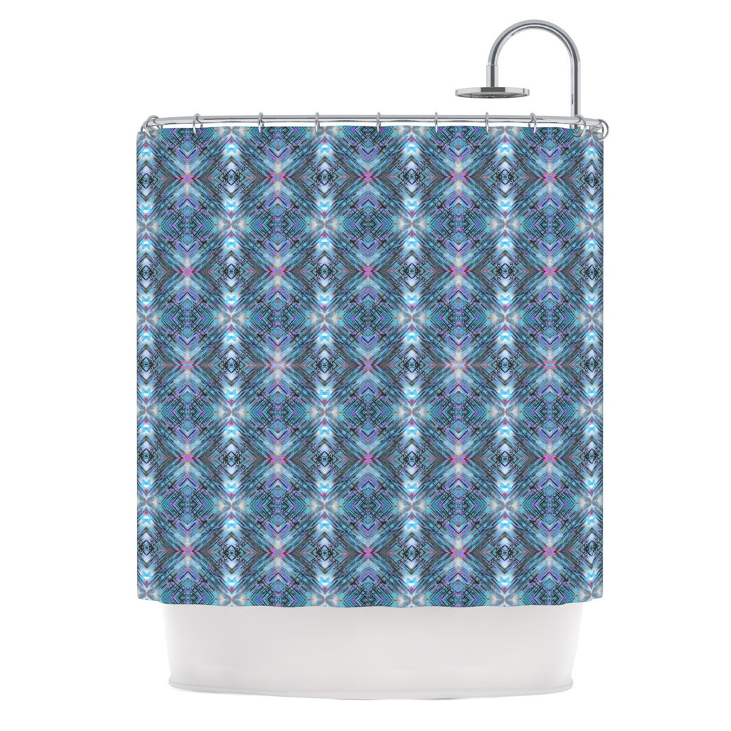 "Danii Pollehn ""Native Pattern"" Blue Geometric Shower Curtain - KESS InHouse"