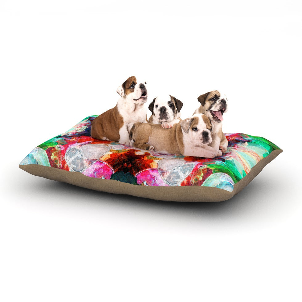 "Danii Pollehn ""Achat I"" Red Green Dog Bed - KESS InHouse  - 1"