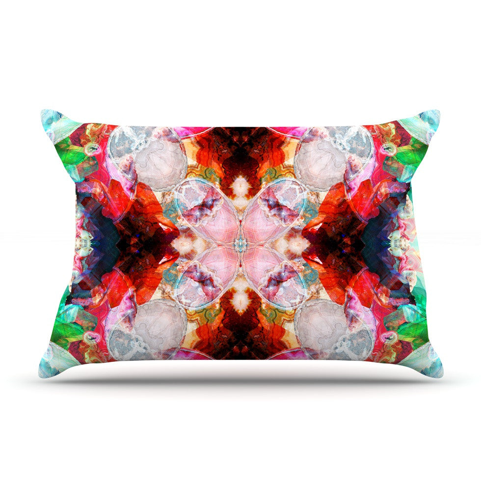 "Danii Pollehn ""Achat I"" Red Green Pillow Sham - KESS InHouse"