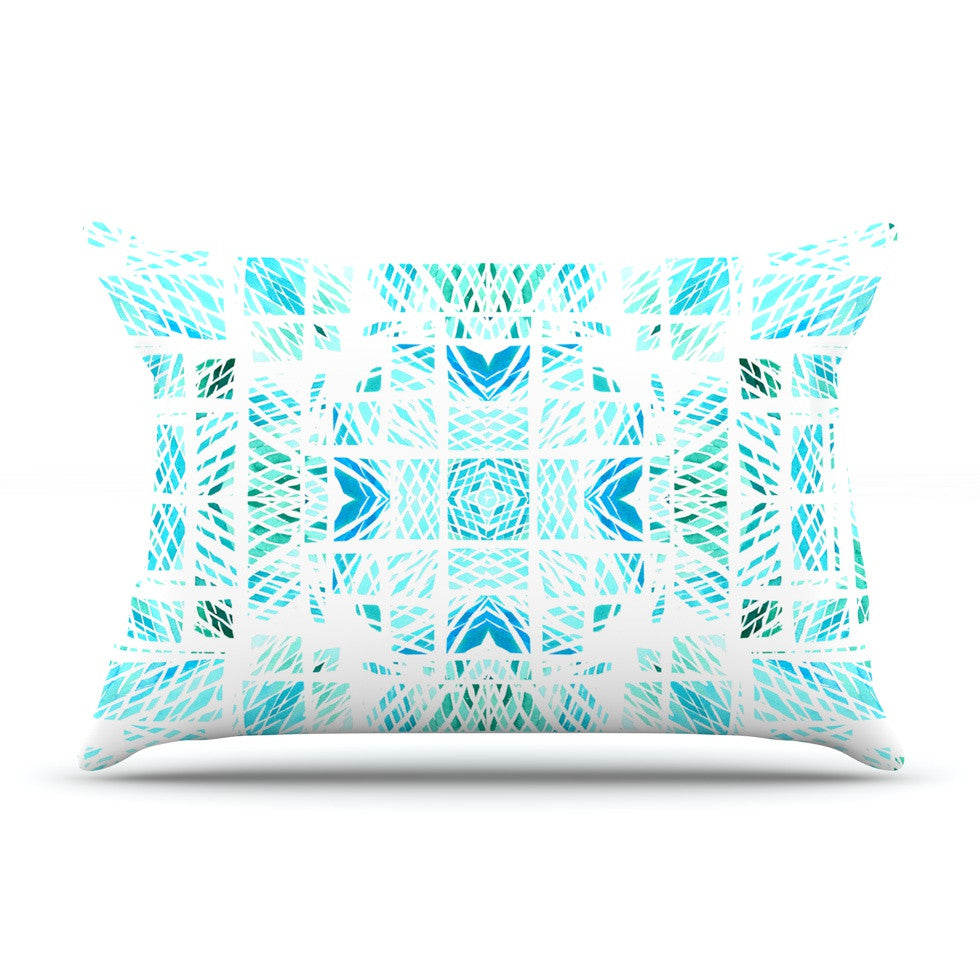 "Danii Pollehn ""Scandanavian Square"" Blue Teal Pillow Sham - KESS InHouse"
