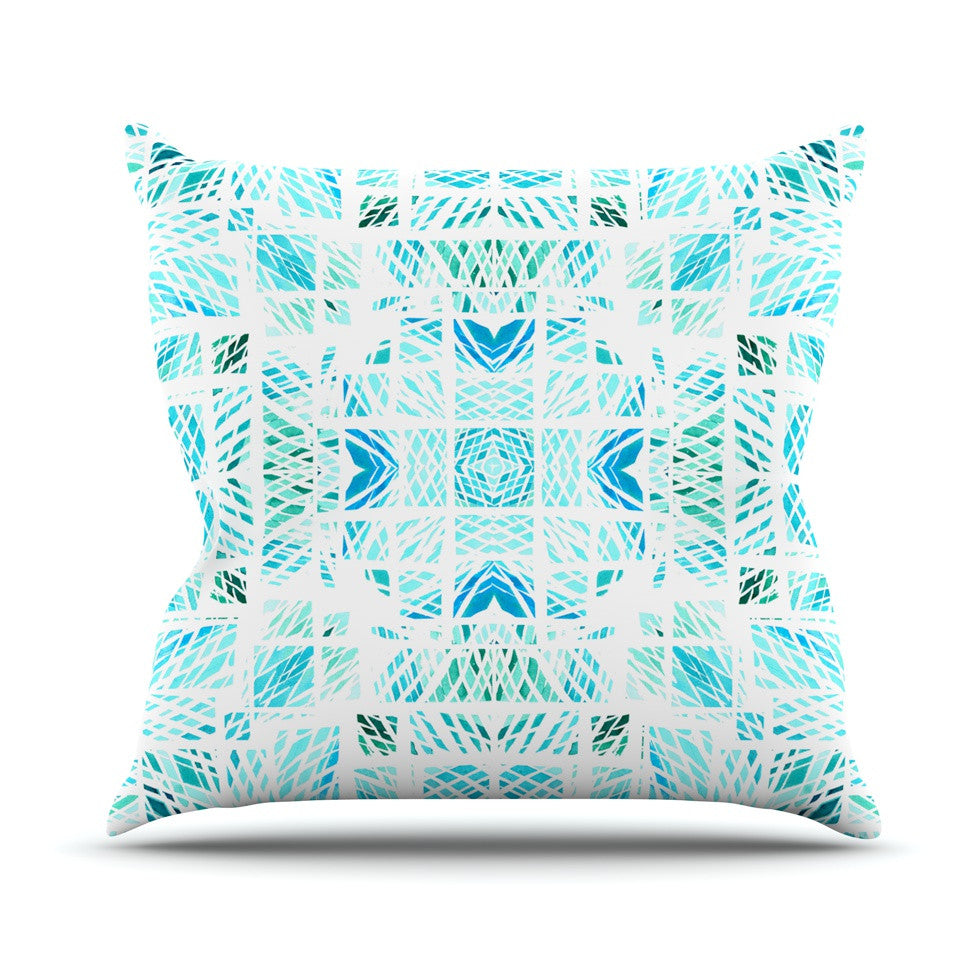 "Danii Pollehn ""Scandanavian Square"" Blue Teal Outdoor Throw Pillow - KESS InHouse  - 1"