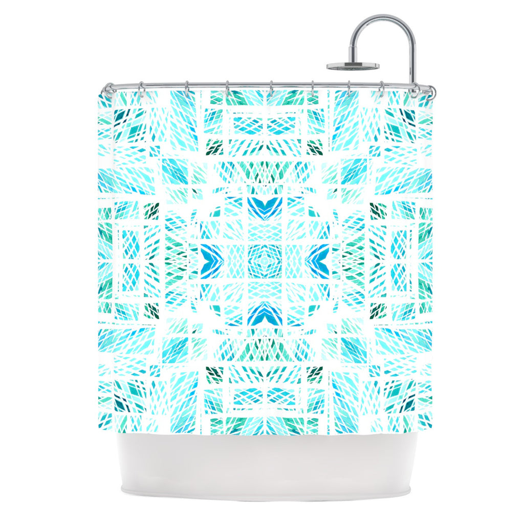 "Danii Pollehn ""Scandanavian Square"" Blue Teal Shower Curtain - KESS InHouse"