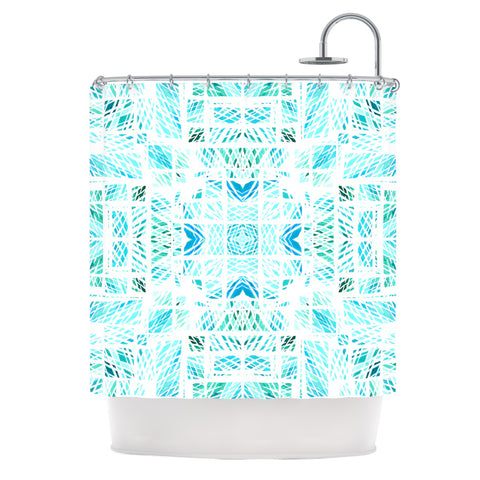 "Danii Pollehn ""Scandanavian Square"" Blue Teal Shower Curtain - Outlet Item"