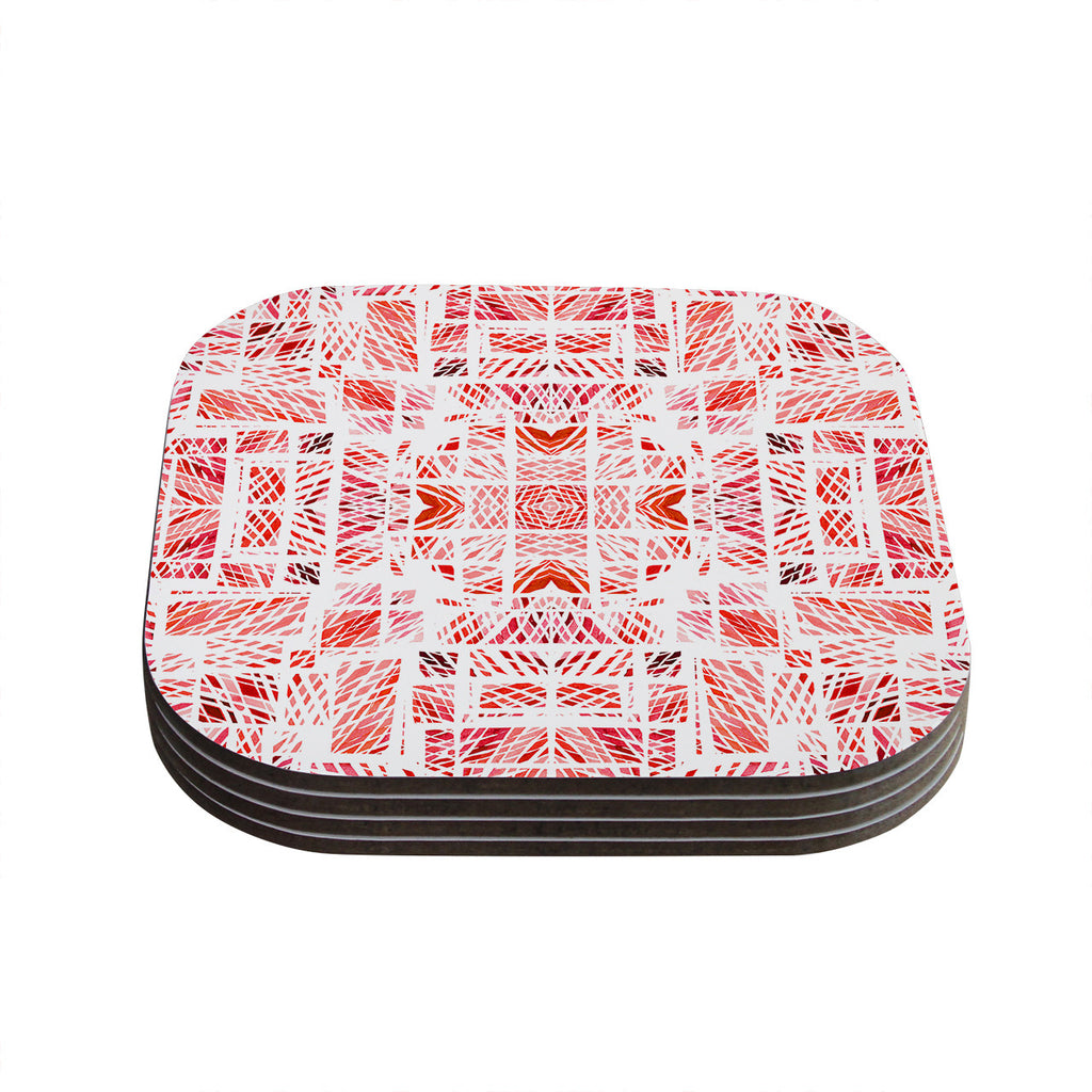 "Danii Pollehn ""Scandanavian Square Pink"" Red Coasters (Set of 4)"