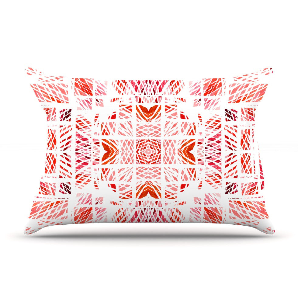 "Danii Pollehn ""Scandanavian Square Pink"" Red Pillow Sham - KESS InHouse"