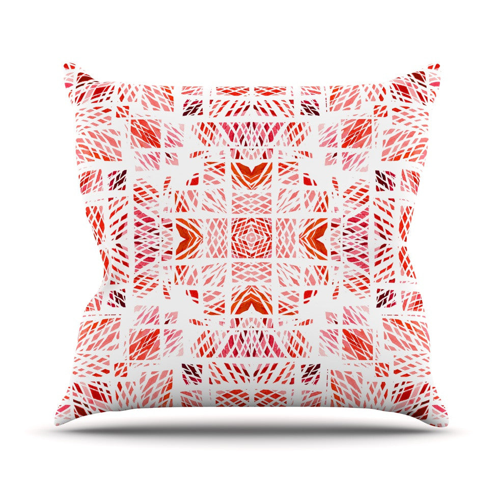 "Danii Pollehn ""Scandanavian Square Pink"" Red Outdoor Throw Pillow - KESS InHouse  - 1"