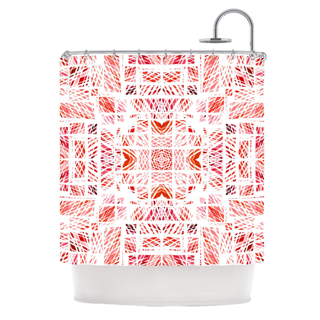 "Danii Pollehn ""Scandanavian Square Pink"" Red Shower Curtain - KESS InHouse"