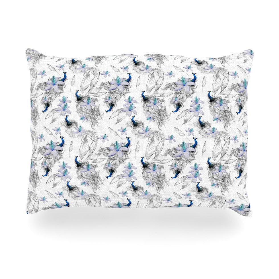 "Danii Pollehn ""Peacock Fun"" Oblong Pillow - KESS InHouse"