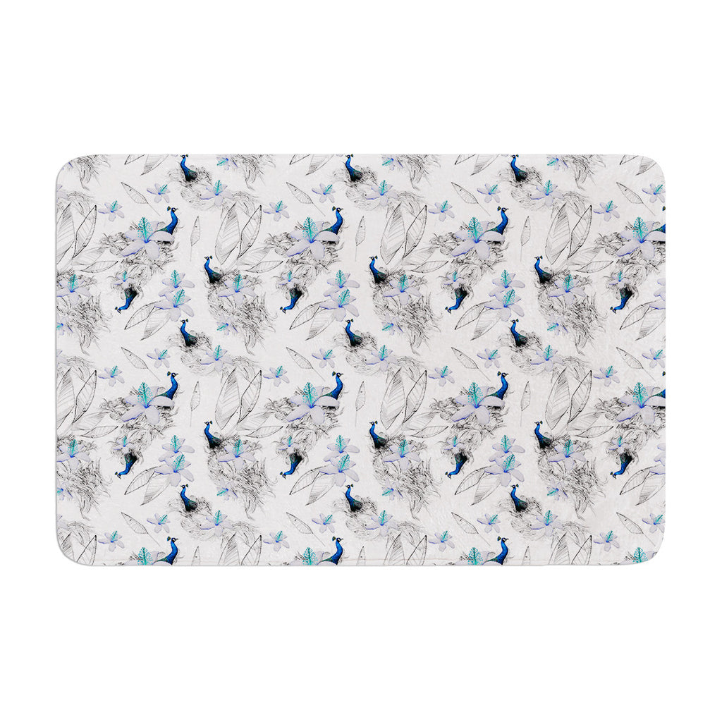 "Danii Pollehn ""Peacock Fun"" Animal Pattern Memory Foam Bath Mat - KESS InHouse"