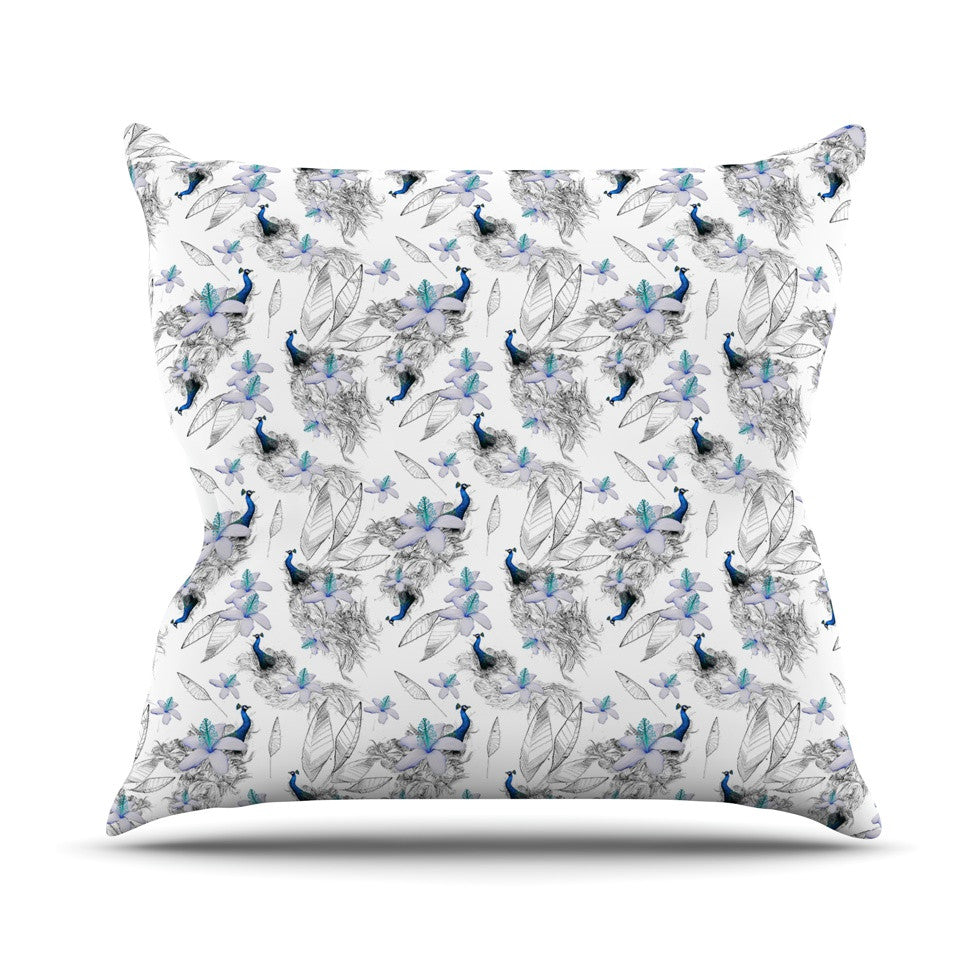 "Danii Pollehn ""Peacock Fun"" Animal Pattern Throw Pillow - KESS InHouse  - 1"