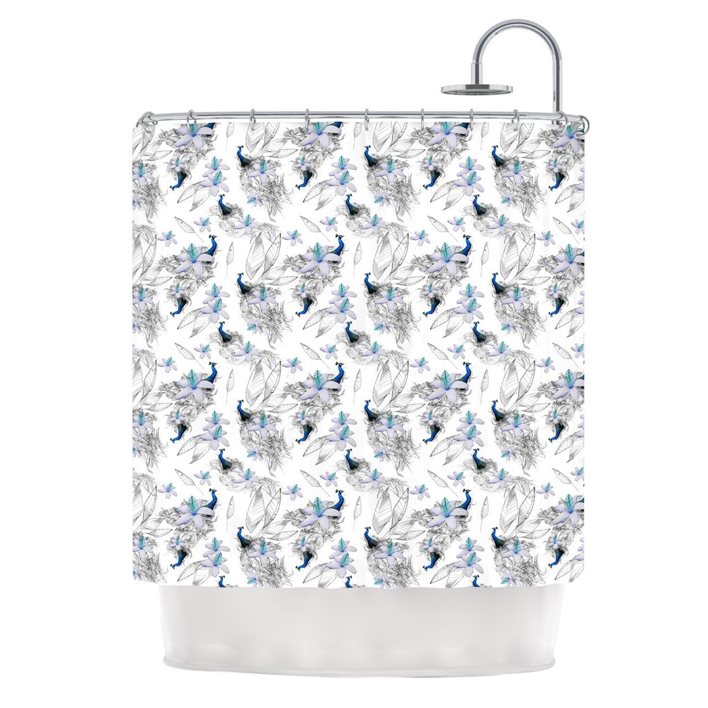 "Danii Pollehn ""Peacock Fun"" Animal Pattern Shower Curtain - KESS InHouse"