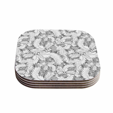 "Danii Pollehn ""Jungle Paisley"" Gray White Coasters (Set of 4) - Outlet Item"