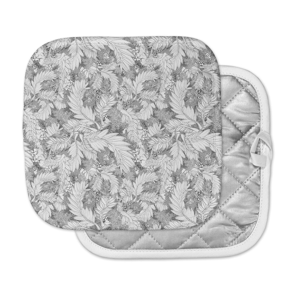 "Danii Pollehn ""Jungle Paisley"" Gray White Pot Holder"