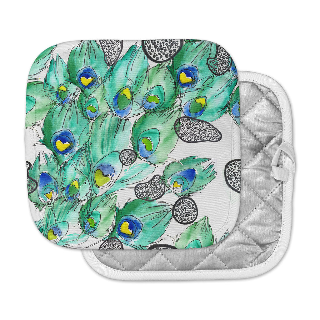 "Danii Pollehn ""Peacockcell"" Green Animals Pot Holder"